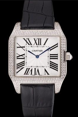 Cartier Santos 100 Diamond Silver Bezel 621924 Cartier Replica
