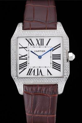 Cartier Santos 100 Diamond Silver Bezel 621926 Cartier Replica