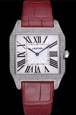 Cartier Santos 100 Diamond Silver Bezel 621928 Cartier Replica