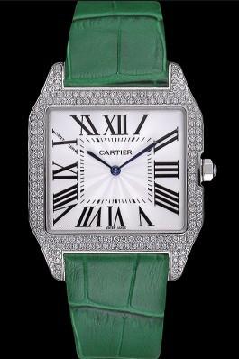 Cartier Santos 100 Diamond Silver Bezel 621929 Cartier Replica