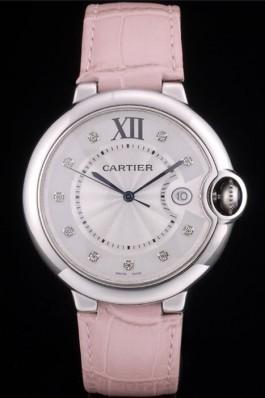Cartier Ballon Bleu 42mm White Dial Stainless Steel Case Pink Leather Bracelet Cartier Replica