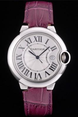 Cartier Ballon Bleu 38mm White Dial Stainless Steel Case Purple Leather Bracelet Cartier Replica