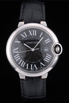 Cartier Ballon Bleu 42mm Black Dial Stainless Steel Case Black Leather Bracelet Cartier Replica
