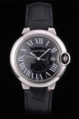 Cartier Ballon Bleu 38mm Black Dial Stainless Steel Case Black Leather Bracelet Cartier Replica