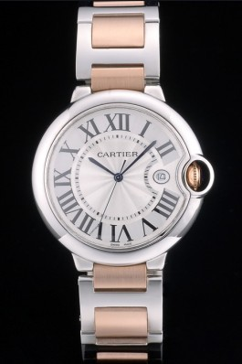 Cartier Ballon Bleu 42mm White Dial Stainless Steel Case Two Tone Rose Gold Bracelet Cartier Replica