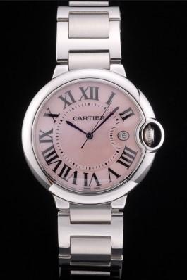 Cartier Ballon Bleu 42mm Pink Dial Stainless Steel Case And Bracelet Cartier Replica