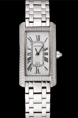 Cartier Tank Americaine White Dial Diamond Bezel Stainless Steel Case And Bracelet 1453777 Cartier Replica