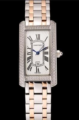 Cartier Tank Americaine White Dial Diamond Bezel Stainless Steel Case Two Tone Bracelet 1453778 Cartier Replica