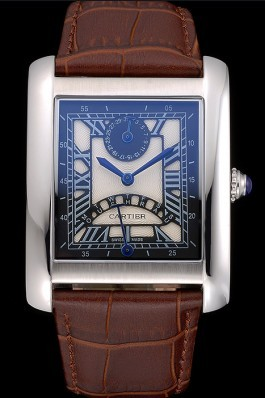 Cartier Tank Black And White Dial Stainless Steel Case Brown Leather Strap 622763 Cartier Replica