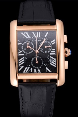 Cartier Tank MC Black Dial Gold Case Black Leather Bracelet 622694 Cartier Replica