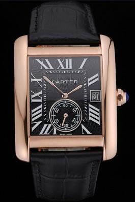 Cartier Tank MC Black Dial Gold Case Black Leather Strap 622580 Cartier Replica