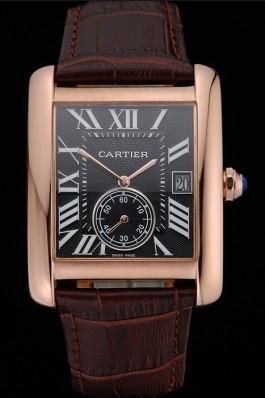 Cartier Tank MC Black Dial Gold Case Brown Leather Strap 622582 Cartier Replica
