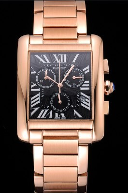 Cartier Tank MC Black Dial Rose Gold Case And Bracelet 622703 Cartier Replica