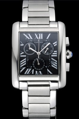 Cartier Tank MC Black Dial Stainless Steel Case And Bracelet 622698 Cartier Replica