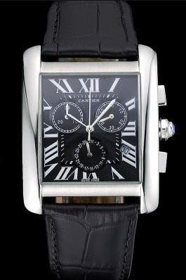 Cartier Tank MC Black Dial Stainless Steel Case Black Leather Bracelet 622690 Cartier Replica