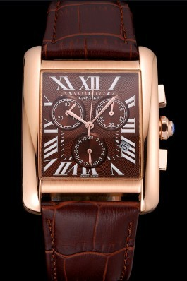 Cartier Tank MC Brown Dial Gold Case Brown Leather Bracelet 622696 Cartier Replica