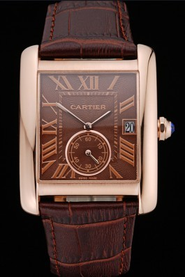 Cartier Tank MC Brown Dial Gold Case Brown Leather Strap 622583 Cartier Replica