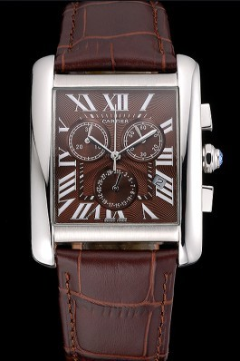 Cartier Tank MC Brown Dial Stainless Steel Case Brown Leather Bracelet 622692 Cartier Replica