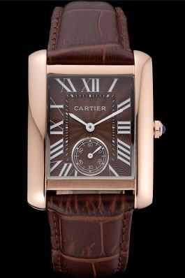 Cartier Tank MC Gold Case Brown Dial Brown Leather Strap 622175 Cartier Replica