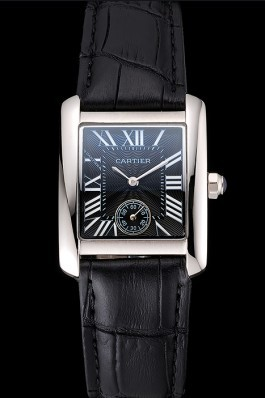 Cartier Tank MC Stainless Steel Case Black Dial Black Leather Strap 622174 Cartier Replica