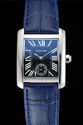 Cartier Tank MC Stainless Steel Case Blue Dial Blue Leather Strap 622178 Cartier Replica