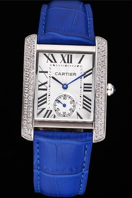 Cartier Tank MC Stainless Steel Diamond Case White Dial Blue Leather Strap 622172 Cartier Replica