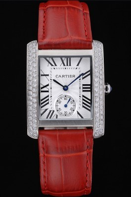 Cartier Tank MC Stainless Steel Diamond Case White Dial Red Leather Strap 622173 Cartier Replica