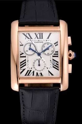 Cartier Tank MC White Dial Gold Case Black Leather Bracelet 622693 Cartier Replica