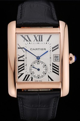Cartier Tank MC White Dial Gold Case Black Leather Strap 622579 Cartier Replica