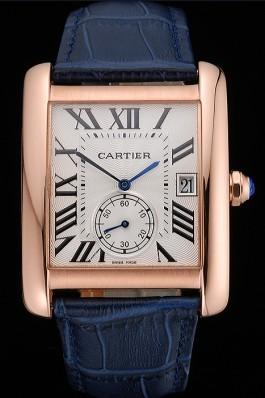 Cartier Tank MC White Dial Gold Case Blue Leather Strap 622577 Cartier Replica