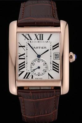 Cartier Tank MC White Dial Gold Case Brown Leather Strap 622578 Cartier Replica