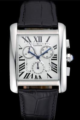 Cartier Tank MC White Dial Stainless Steel Case Black Leather Bracelet 622689 Cartier Replica