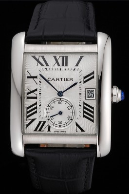 Cartier Tank MC White Dial Stainless Steel Case Black Leather Strap 622576 Cartier Replica
