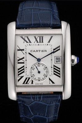 Cartier Tank MC White Dial Stainless Steel Case Blue Leather Strap 622575 Cartier Replica
