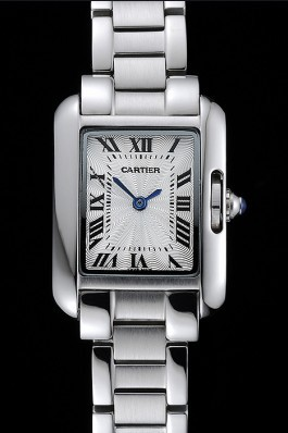Cartier Tank Anglaise 23mm Silver Dial Stainless Steel Case And Bracelet Cartier Replica
