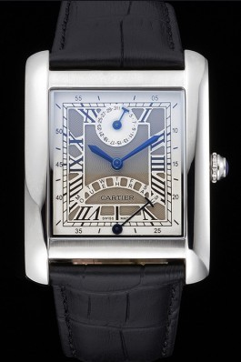 Cartier Tank White Dial Stainless Steel Case Black Leather Strap 622761 Cartier Replica