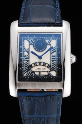 Cartier Tank White Dial Stainless Steel Case Blue Leather Strap 622762 Cartier Replica