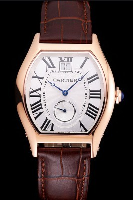 Cartier Tortue Large Date White Dial Gold Case Brown Leather Strap Cartier Replica