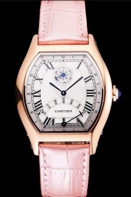 Cartier Tortue Perpetual Calendar White Dial Gold Case Pink Leather Strap Cartier Replica