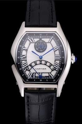 Cartier Tortue Perpetual Calendar White Dial Stainless Steel Case Black Leather Strap Cartier Replica