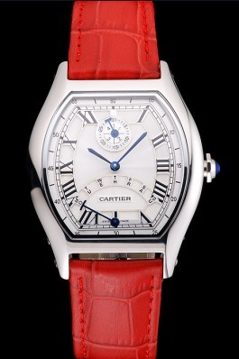 Cartier Tortue Perpetual Calendar White Dial Stainless Steel Case Red Leather Strap Cartier Replica