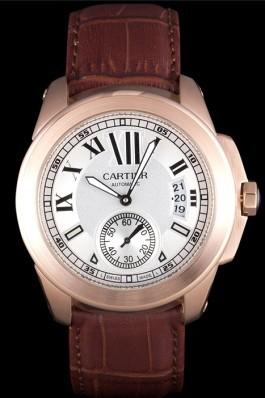 Cartier Calibre White Dial Gold Case Brown Leather Bracelet Cartier Replica