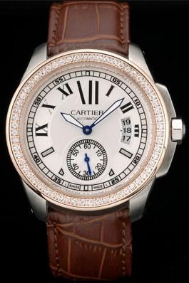 Cartier Calibre White Dial Diamonds Two Tone Case Brown Leather Bracelet Cartier Replica