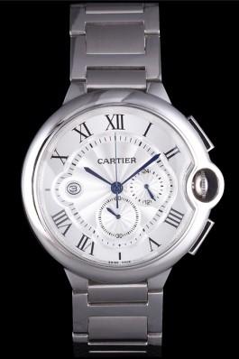 Cartier Ballon Bleu Chronograph White Dial Stainless Steel Case And Bracelet Cartier Replica