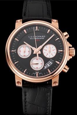 Chopard L.U.C 8HF Power Control Black Dial Black Leather Bracelet 1454002 Chopard Replica