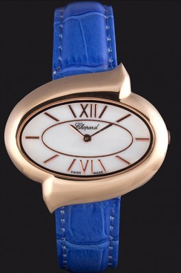 Chopard Luxury Gold Bezel with White Dial and Blue Leather Strap 621544 Chopard Replica