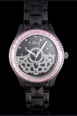 Dior VIII Baguette Cut Pink Diamonds with Diamond Encrusted Dial cd14 621367 Replica Christian Dior