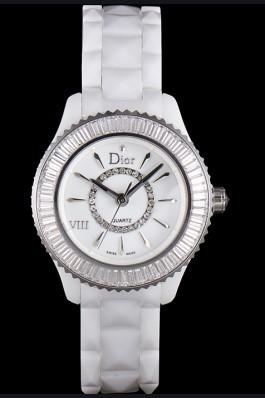Dior VIII Baguette Cut White Diamonds with Diamond Encrusted Dial cd06 621359 Replica Christian Dior