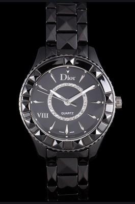 Dior VIII Ceramic Black Bezel Black Bracelet cd10 621363 Replica Christian Dior