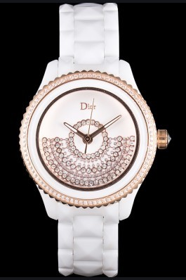 Dior VIII Grand Bal Rose Gold Bezel White Bracelet cd07 621360 Replica Christian Dior